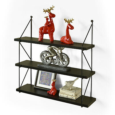 """3-Tier Display Wall Shelf Storage Book Photo Rack Holder, Espresso, WELLAND, 24"""" for sale  Shipping to India"""