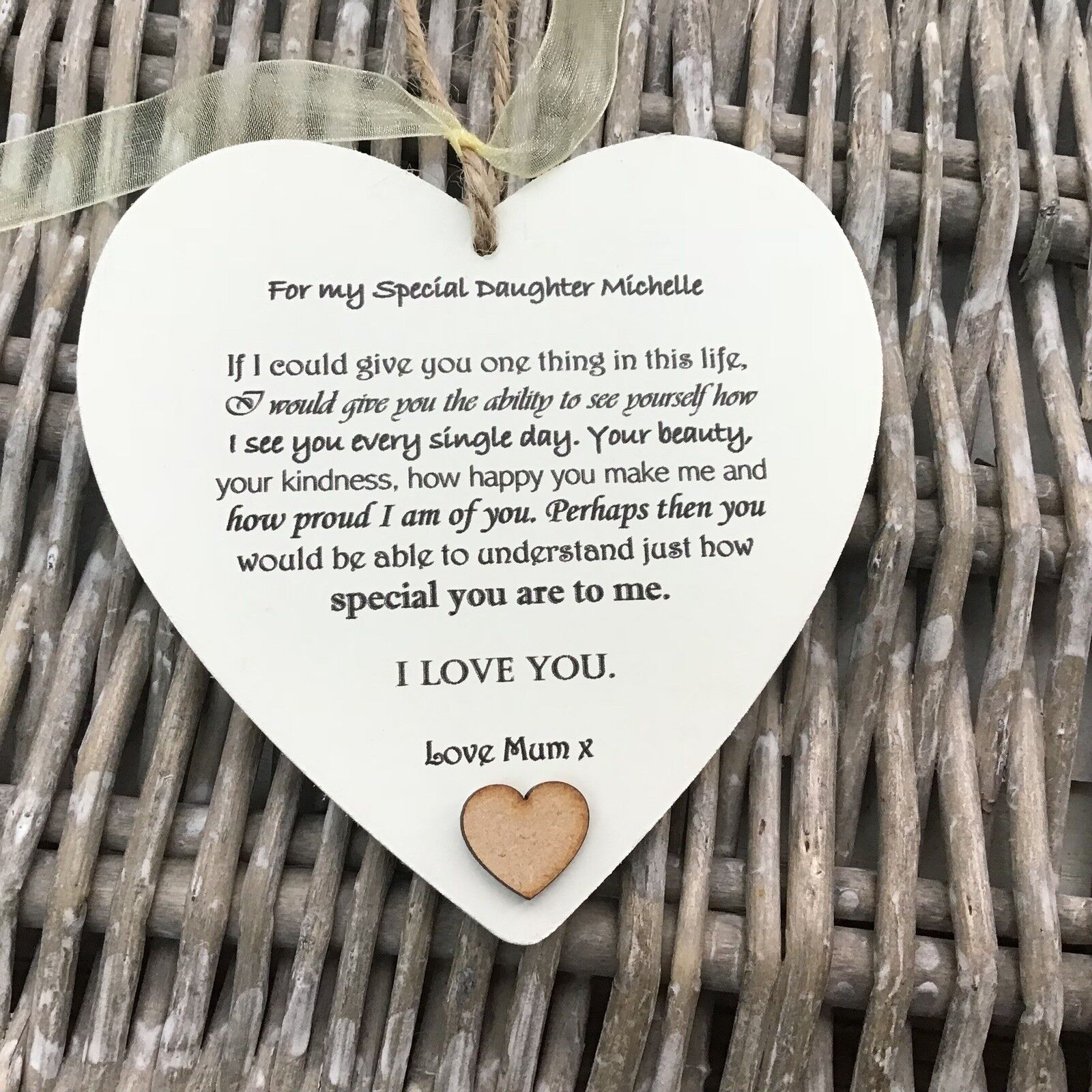 Shabby personalised Gift Chic Heart Plaque Special DAUGHTER Present ANY NAME Mum - 233008397669