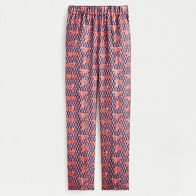 NWT J.Crew Collection Silk Pull-on Easy Pant in Roaming Tigers Size 2