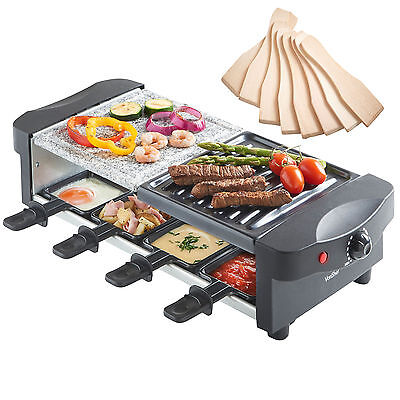 VonShef 8 Person Raclette Grill Table Indoor Hotplate with Natural Stone Plate