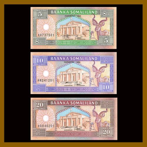 Somaliland 5 10 20 Shillings (Shilin) (3 Pcs Set), 1994 P-1/2/3 Camel Gazel. Unc