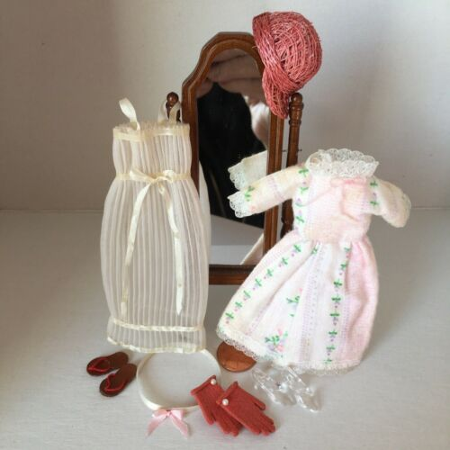 Dollhouse miniature clothes, shoes, mirror, gloves, nightgown, dress, 1:12 scale