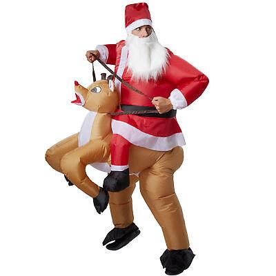 Unisex Kostüm aufblasbar Santa Rentier Aufsitzkostüm Huckepack Fasching (Rentier Kostüm)