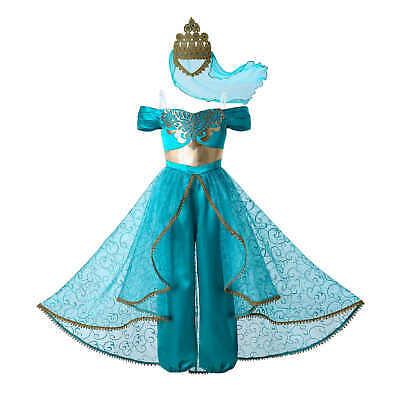 Princess Kids Girls Cosplay Aladdin Costume Jasmine Fancy Dress Party Outfit Set