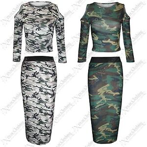 new womens army look camouflage crop tops pencil skirts