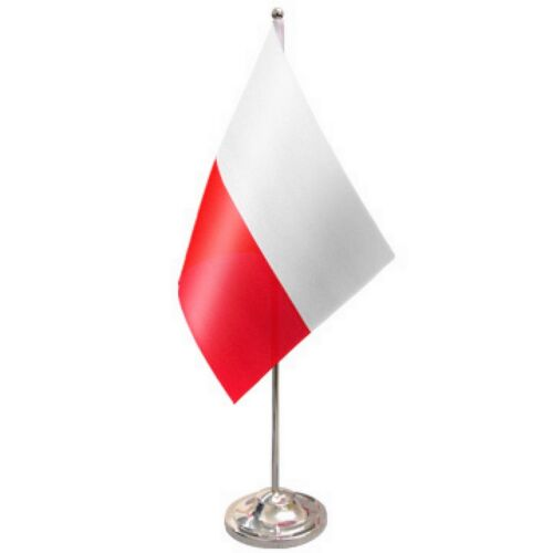 Poland Federal Satin & Chrome Premium Table Flag