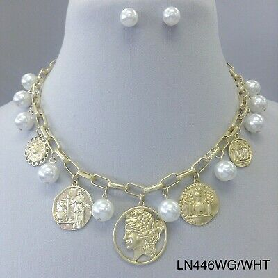 Gold Finish Chain Link Multi Pearl Greek Coin Head Cut out Pendant Necklace (Coin Pearls Bead Sets)