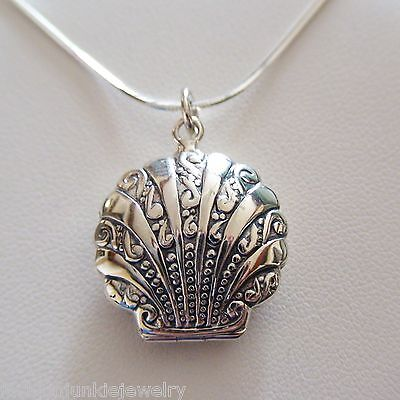 Clam Shell Locket Necklace - 925 Sterling Silver - Holds 2 Photos Beach Sea SN (925 Sterling Silver Locket)
