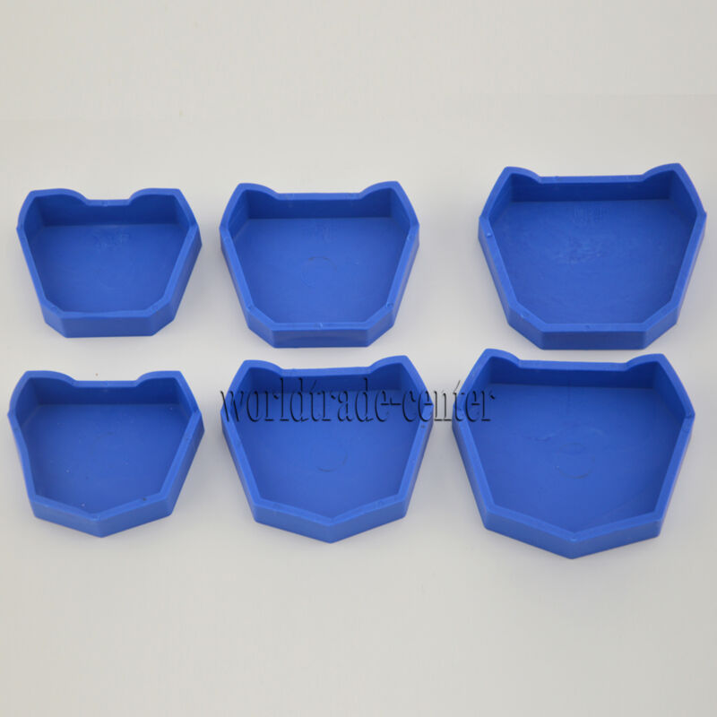 NEW Dental Lab Model Base Former Molds for Tray Loading with Notches Set of 6pcs