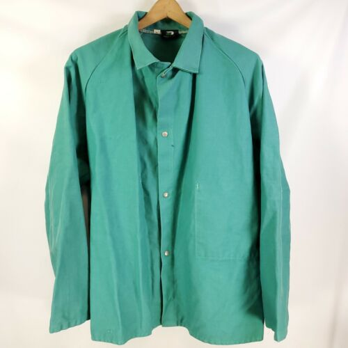 Vtg Protexall Green Snap Welders Jacket Size XL Union Made!
