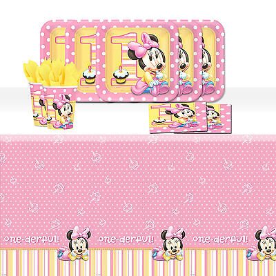 Disney Baby Minnie Mouse Children's 1st Birthday Party Tableware Pack Kit For 16
