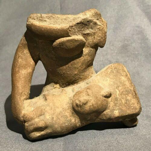ANCIENT Pre-Columbian Pottery Whistle Baby Figurine - Veracruz Mexico 600-900 AD