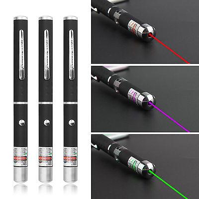 3 Pieces Green + Purple + Red Laser Pointer Pen Light Beam UK Seller