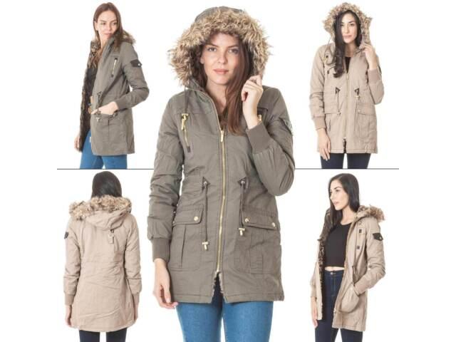 Womens Brave Soul Parka Padded jacket Ladies Worm Fur Hooded Coat Outwear New UK