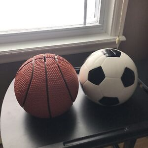 Soccer and Basketball piggy banks