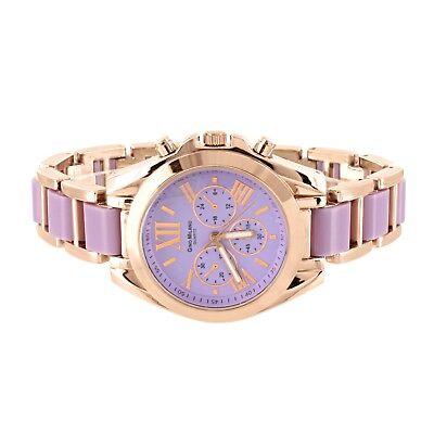 Ladies Rose Gold & Purple Two Tone Wrist Watch Round Face Roman Num Casual Wear