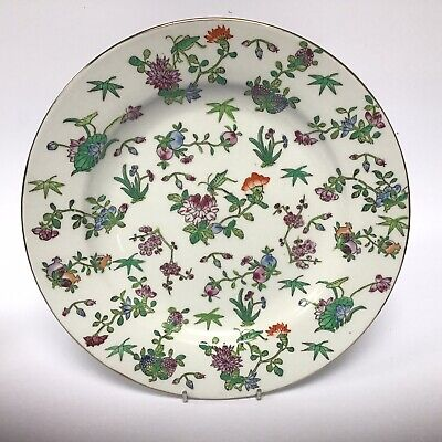 Vintage Japanese Enamelled Porcelain Flower And Grasshopper Plate