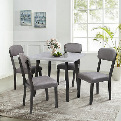 5 Piece Dining Set  Wooden with 4 Padded Dining Chairs Kitchen for Small Spaces