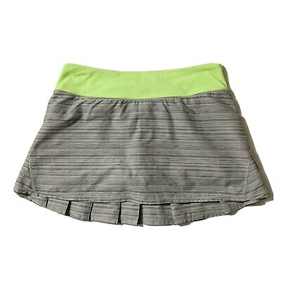 Lululemon Run Pace Setter Skirt Skort Size 6 Ruffle Layer Back Zip Pocket Gray