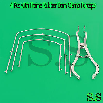 Rubber Dam Kit Of 4 Pcs With Frame Rubber Dam Clamp Forceps Dental Instruments