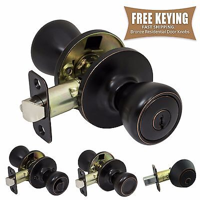 Pro-Grade Classic Door Knob Handle Keyed Entry Home Hardware, Oil Rubbed Bronze ()
