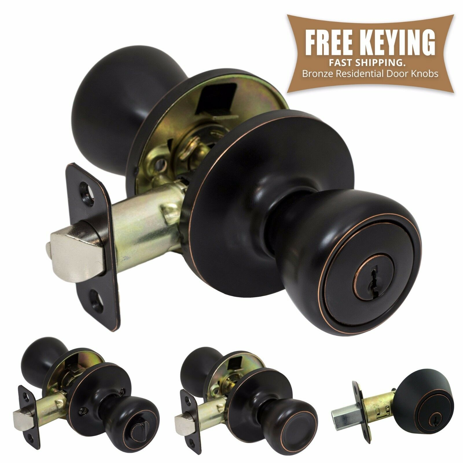 Pro-Grade Classic Door Knob Handle Keyed Entry Home Hardware, Oil Rubbed Bronze Building & Hardware