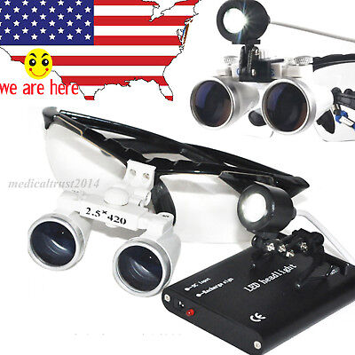 Dental Lab Surgical Medical Binocular Loupes 2.5x420mm Glass Led Head Lamp Kit