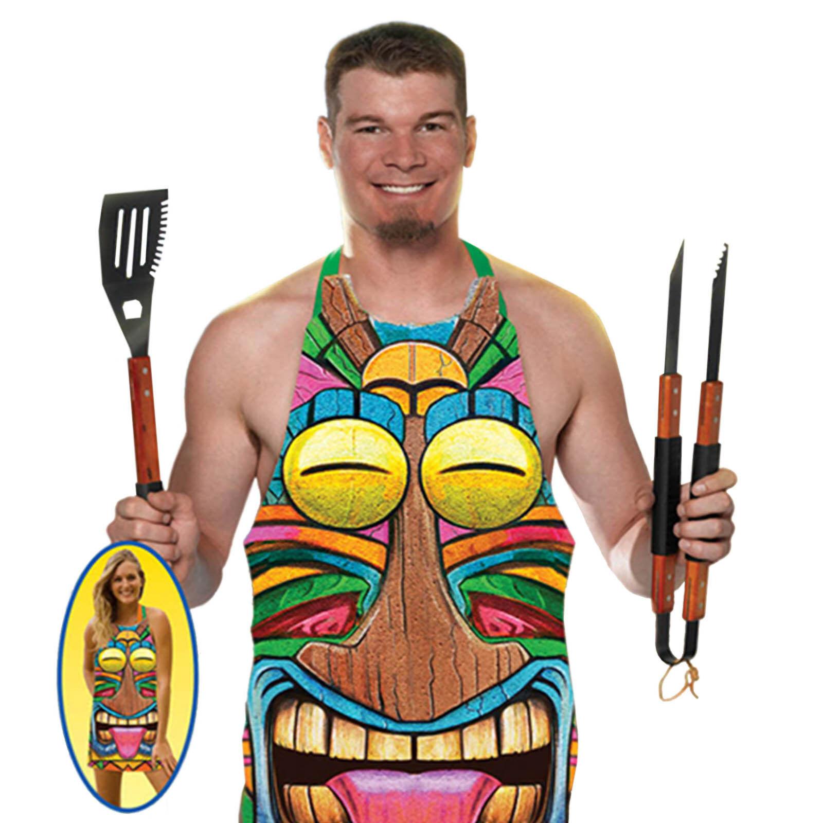 White half apron ebay - Tropical Summer Barbecue Party Tiki Totem Fancy Dress Plastic Apron