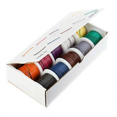 30 Awg Gauge Stranded Wire Kit 10 Color 100 Ft Each 0.0126 Dia Ptfe 600 Volts