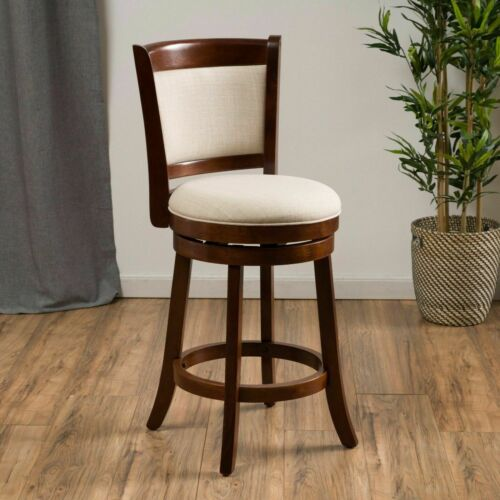 Davis Modern 24-Inch Beige Upholstered Wood Swivel Backed Counterstool Benches, Stools & Bar Stools