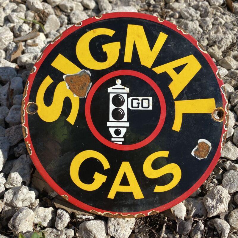 VINTAGE SIGNAL GASOLINE PORCELAIN SIGN TRAFFIC OIL GAS STATION PUMP PETROLIANA