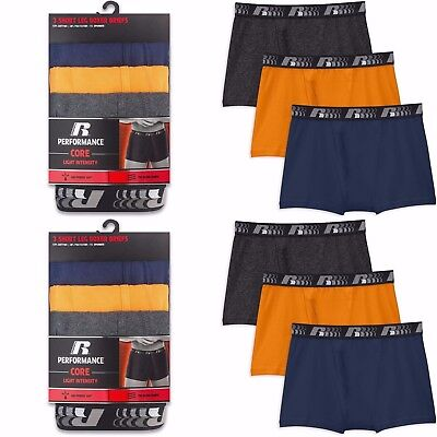 Russell Core Performance Mens Short Leg Boxer Briefs Sizes M 2Xl 3Pk Or 6Pk
