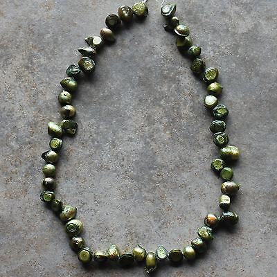 "Natural Freshwater Pearl Olive Green Baroque Loose Beads 15"" strand"
