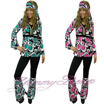 Hippy Fancy Dress Costume Women 60s Hippie Flower Power Groovy Plus Size 6-18