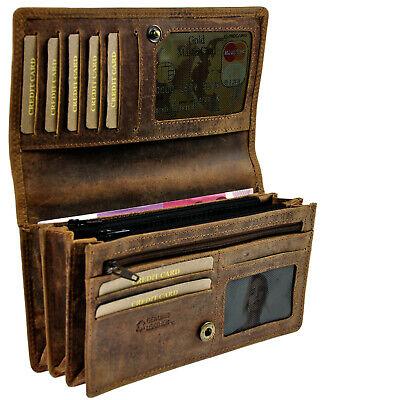 AMARI Portemonnaie XXL RFID Schutz robustes Pull Up Rindleder Geldbörse Damen