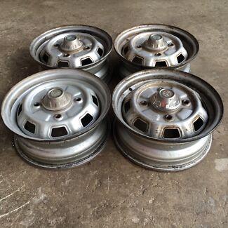 """Genuine Subaru Brumby, Leone 13"""" steel wheels"""