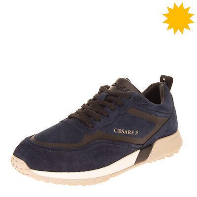 RRP €255 CESARE PACIOTTI Leather Sneakers EU 44 UK 10 US 11 Padded Topline Logo