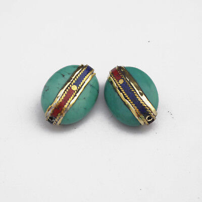 Coral Lapis Turquoise Brass 2 Beads Tibetan Nepalese Handmade Tibet Nepal UB2549