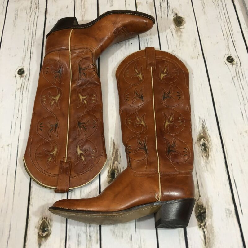 Vintage, ACME, USA, Cowboy, Boots, Distressed, Chestnut, Brown, Leather, Mens, 9, A