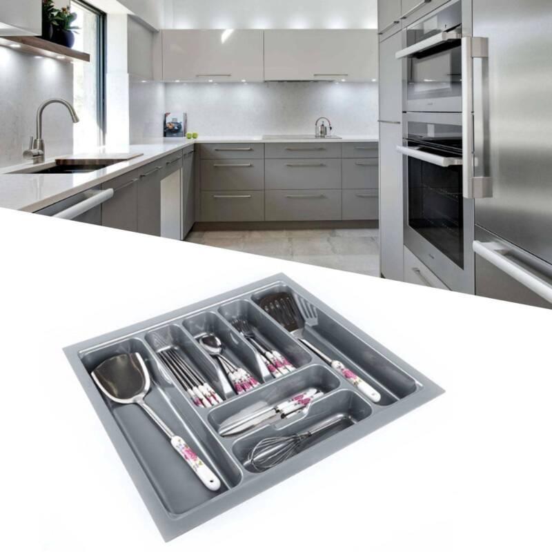 Cutlery Tray Insert Kitchen Draw Organizer Quality Plastic Drawer Storage Grey