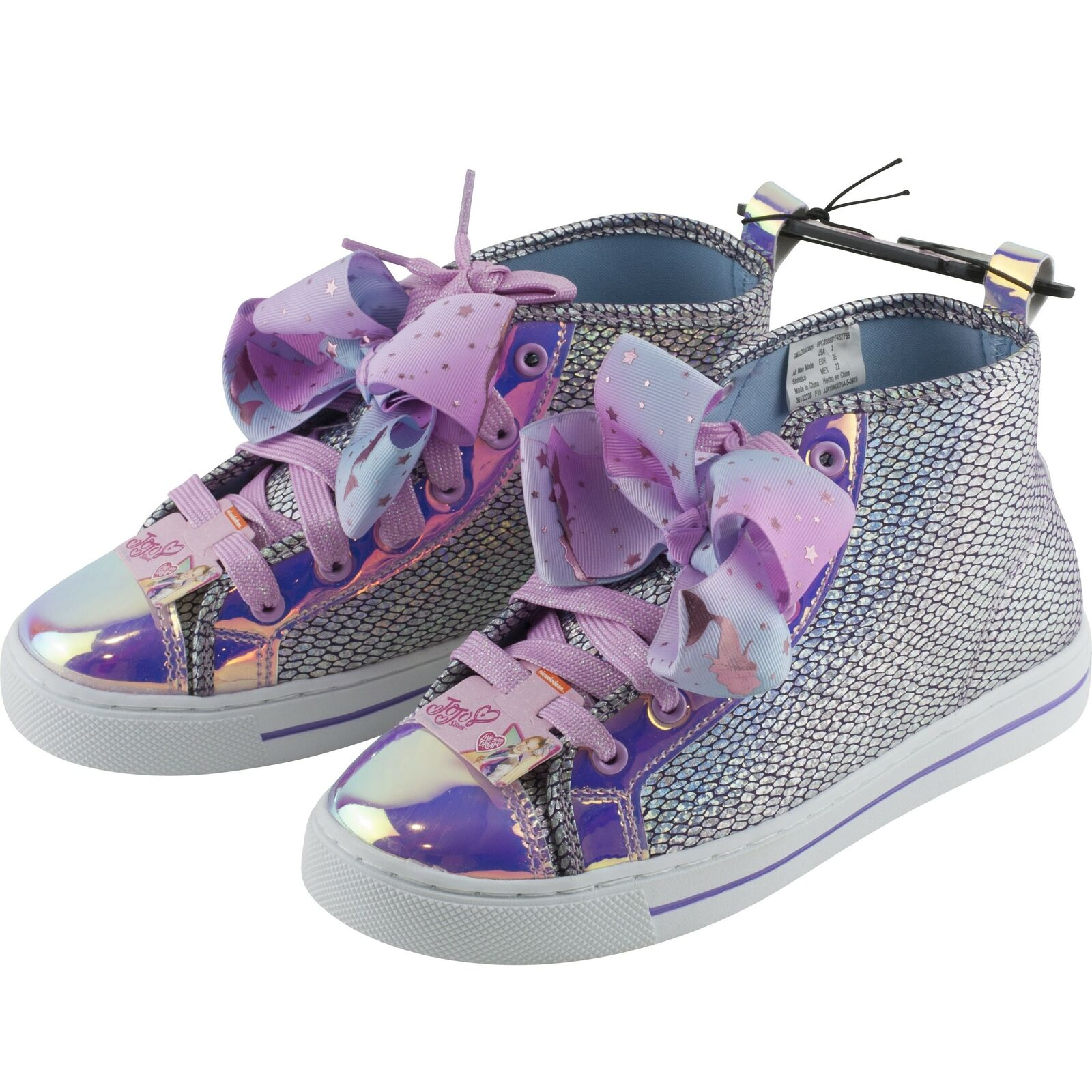 Jojo Siwa Silver Mermaid Scales Girls High Top Sneakers Shoes Bow