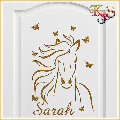 ♥♥ Aufkleber Sticker Möbel Tür Wandtattoo Auto  Name Pferd Schmetterlinge  ♥♥
