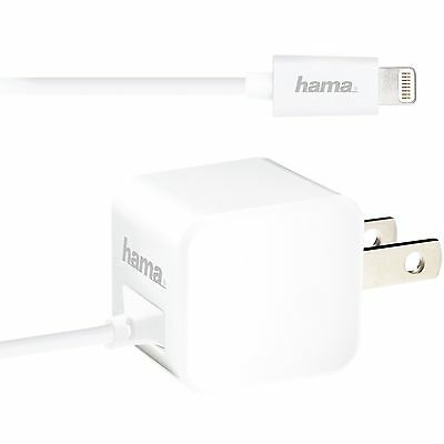 New Hama MicroCube White 5W 1A USB Travel Wall Charger with MFI Lightning Cable - Hama Universal Usb