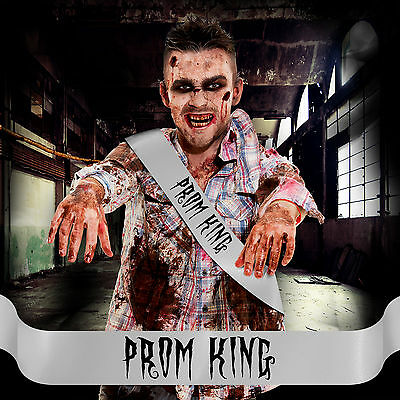 MENS CHEAP HALLOWEEN FANCY DRESS COSTUME ZOMBIE PROM KING SASH ACCESSORY ! &P+P (Zombie Costume Cheap)