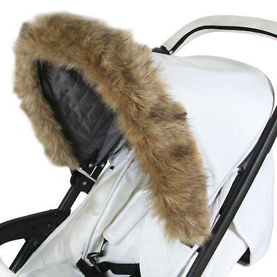 My Babiie Baby Pram / Stroller / Pushchair Elasticated Hood Fur - Brown