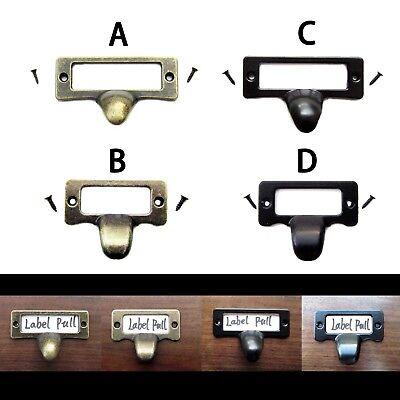 6x Antique Brass Drawer Label Pull Cabinet Frame Handle File Name Card Holder (Label Holder Antique Brass)