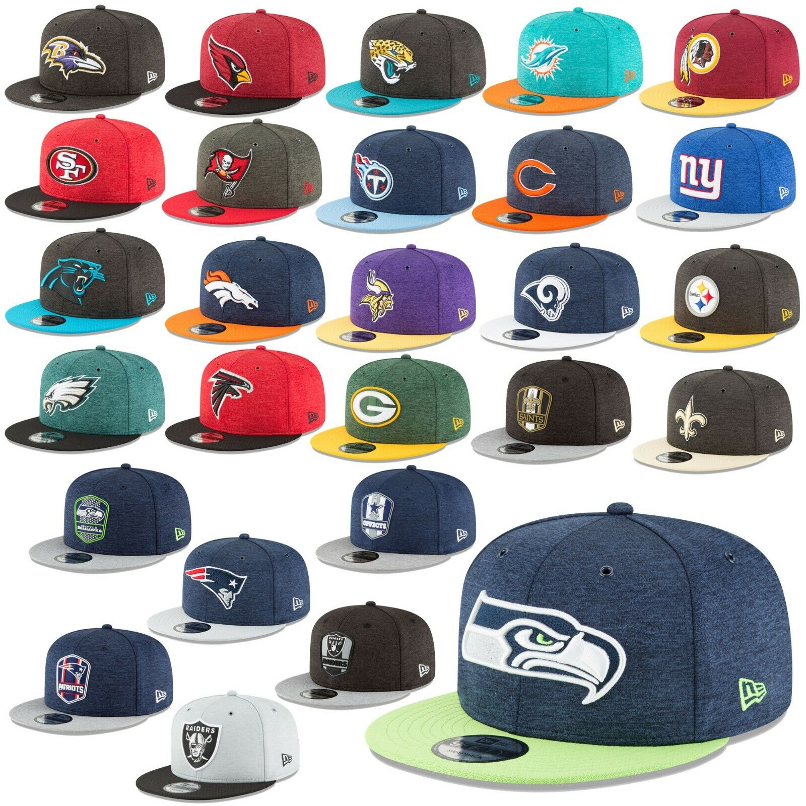 New era Cap 9fifty Snapback Cap NFL sideline 18 19 Seahawks Patriots  Raiders etc 85ae47be5508