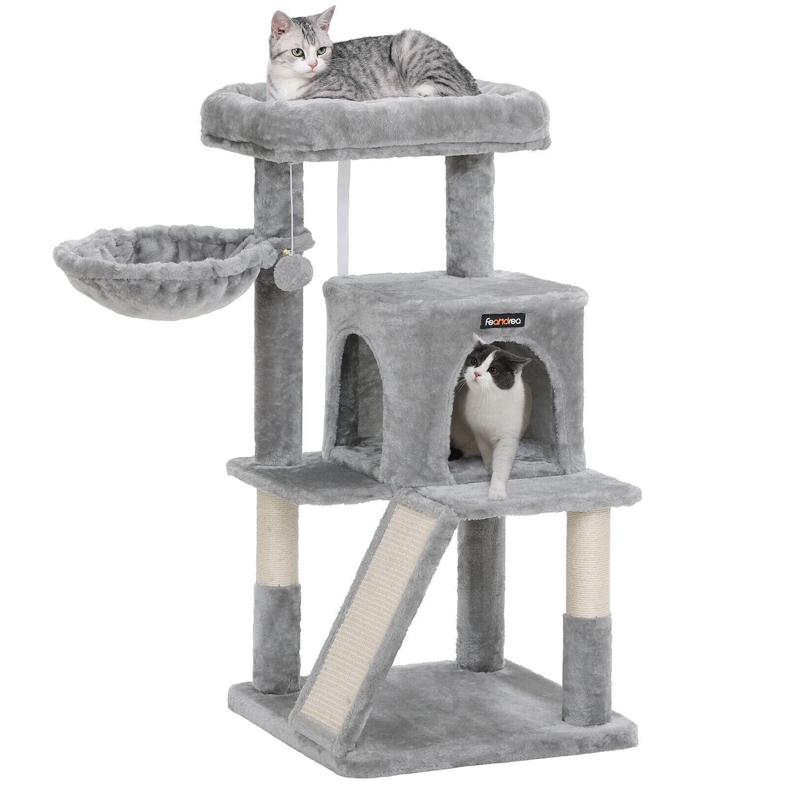 FEANDREA Kratzbaum, Katzenbaum, Kletterturm für Katzen, Kratzbrett, grau PCT51W