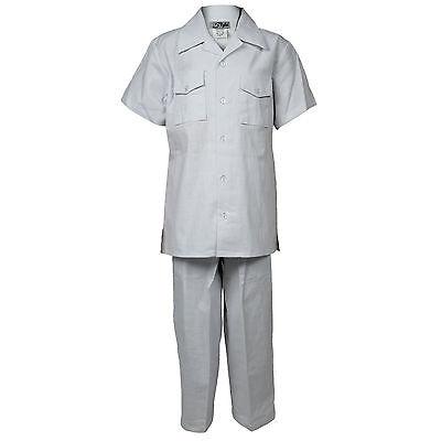 Boys White Linen Set 2 Piece Two Pocket Shirt With Pant Sizes 4 to (White Pant Set)