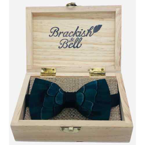 BRACKISH Patterson Pattern Feather Bow Tie w/ Box